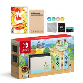 Nintendo Switch Animal Crossing Special Version Console Set, Bundle With Fitness Boxing 2: Rhythm & Exercise And Mytrix Accessories