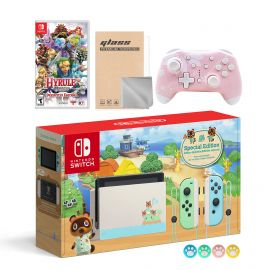 Nintendo Switch Animal Crossing Special Version Console Set, Bundle With Hyrule Warriors And Mytrix Wireless Pro Controller and Accessories