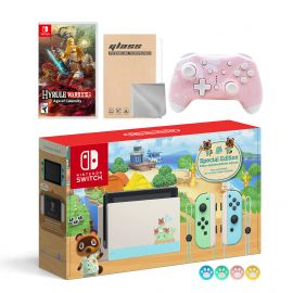 Nintendo Switch Animal Crossing Special Version Console Set, Bundle With Hyrule Warriors: Age of Calamity And Mytrix Wireless Switch Pro Controller and Accessories