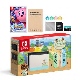 Nintendo Switch Animal Crossing Special Version Console Set, Bundle With Kirby Star Allies And Mytrix Accessories