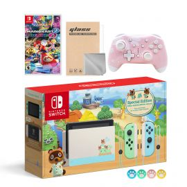 Nintendo Switch Animal Crossing Special Version Console Set, Bundle With Mario Kart 8 Deluxe And Mytrix Wireless Switch Pro Controller and Accessories