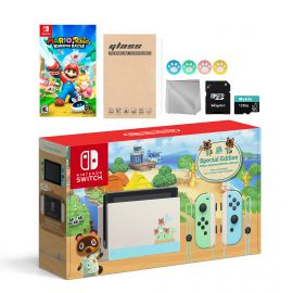 Nintendo Switch Animal Crossing Special Version Console Set, Bundle With Mario Rabbids Kingdom Battle And Mytrix Accessories