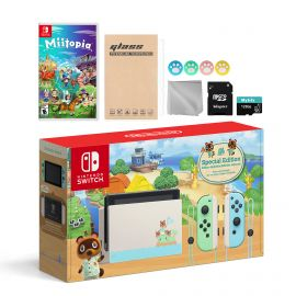 Nintendo Switch Animal Crossing Special Version Console Set, Bundle With Miitopia And Mytrix Accessories