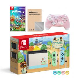 Nintendo Switch Animal Crossing Special Version Console Set, Bundle With Miitopia And Mytrix Wireless Switch Pro Controller and Accessories