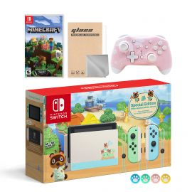 Nintendo Switch Animal Crossing Special Version Console Set, Bundle With Minecraft And Mytrix Wireless Switch Pro Controller and Accessories