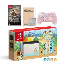 Nintendo Switch Animal Crossing Special Version Console Set, Bundle With Octopath Traveler And Mytrix Wireless Switch Pro Controller and Accessories