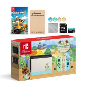 Nintendo Switch Animal Crossing Special Version Console Set, Bundle With Overcooked! 2 And Mytrix Accessories