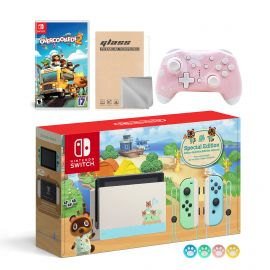 Nintendo Switch Animal Crossing Special Version Console Set, Bundle With Overcooked! 2 And Mytrix Wireless Switch Pro Controller and Accessories