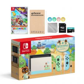 Nintendo Switch Animal Crossing Special Version Console Set, Bundle With Paper Mario: The Origami King And Mytrix Accessories