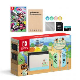 Nintendo Switch Animal Crossing Special Version Console Set, Bundle With Splatoon 2 And Mytrix Accessories