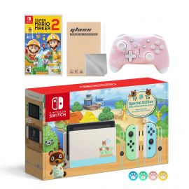 Nintendo Switch Animal Crossing Special Version Console Set, Bundle With Super Mario Maker 2 And Mytrix Wireless Switch Pro Controller and Accessories