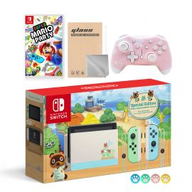 Nintendo Switch Animal Crossing Special Version Console Set, Bundle With Super Mario Party And Mytrix Wireless Pro Controller and Accessories