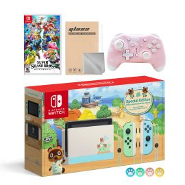 Nintendo Switch Animal Crossing Special Version Console Set, Bundle With Super Smash Bros. Ultimate And Mytrix Wireless Switch Pro Controller and Accessories