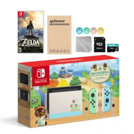 Nintendo Switch Animal Crossing Special Version Console Set, Bundle With Zelda: Breath of the Wild And Mytrix Accessories