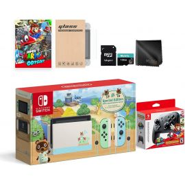 Nintendo Switch Animal Crossing Switch Console Odyssey Pro Controller Combo: Switch Limited 32GB Console, Super Mario Odyssey Full Game, Switch Wireless Pro Controller, and Mytrix Switch Accessories