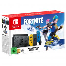 Nintendo Switch Battle Royale Fortnite Wildcat Edition with Adapter and US Plug Converter, 128GB MicroSD Card, Mytrix Screen Protector - Pre-Installed Game, Epic Outfits and 2000 V-Bucks Include