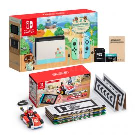 Nintendo Switch Console and Kart Holiday Combo: Nintendo Switch Animal Crossing Limited 32 GB Console, Mario Kart Live: Home Circuit - Mario Set, Mytrix 128GB MicroSD Card and Glass Screen Protector
