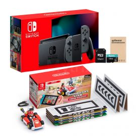 Nintendo Switch Console and Kart Holiday Combo: Nintendo Switch Gray Joy-Con 32GB Console, Mario Kart Live: Home Circuit - Mario Set, Mytrix 128GB MicroSD Card and Glass Screen Protector