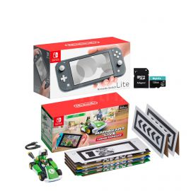 Nintendo Switch Console and Kart Holiday Combo: Nintendo Switch Lite Gray 32GB Console, Mario Kart Live: Home Circuit - Luigi Set, Mytrix 128GB MicroSD Card with Adapter