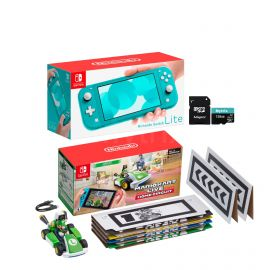 Nintendo Switch Console and Kart Holiday Combo: Nintendo Switch Lite Turquoise 32GB Console, Mario Kart Live: Home Circuit - Luigi Set, Mytrix 128GB MicroSD Card with Adapter