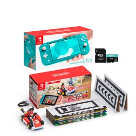 Nintendo Switch Console and Kart Holiday Combo: Nintendo Switch Lite Turquoise 32GB Console, Mario Kart Live: Home Circuit - Mario Set, Mytrix 128GB MicroSD Card with Adapter