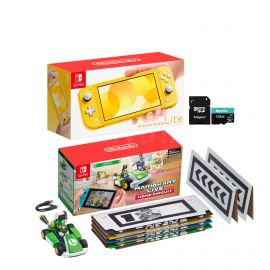 Nintendo Switch Console and Kart Holiday Combo: Nintendo Switch Lite Yellow 32GB Console, Mario Kart Live: Home Circuit - Luigi Set, Mytrix 128GB MicroSD Card with Adapter