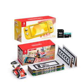 Nintendo Switch Console and Kart Holiday Combo: Nintendo Switch Lite Yellow 32GB Console, Mario Kart Live: Home Circuit - Mario Set, Mytrix 128GB MicroSD Card with Adapter