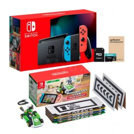 Nintendo Switch Console and Kart Holiday Combo: Nintendo Switch Neon Red Blue Joy-Con 32GB Console, Mario Kart Live: Home Circuit - Luigi Set, Mytrix 128GB MicroSD Card and Glass Screen Protector