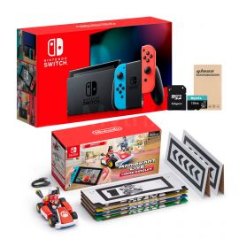 Nintendo Switch Console and Kart Holiday Combo: Nintendo Switch Neon Red Blue Joy-Con 32GB Console, Mario Kart Live: Home Circuit - Mario Set, Mytrix 128GB MicroSD Card and Glass Screen Protector