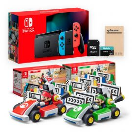 Nintendo Switch Console and Kart Holiday Combo: Nintendo Switch Neon Red Blue Joy-Con 32GB Console, Mario Kart Live: Home Circuit - Mario Set and Luigi Set, Mytrix 128GB MicroSD Card, Screen Protector