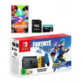 Nintendo Switch Fortnite Wildcat Edition and Game Bundle: Limited Console Set, Pre-Installed Fortnite, Epic Wildcat Outfits, 2000 V-Bucks, 1-2 Switch, Mytrix 128GB MicroSD Card and Adapter