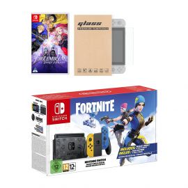 Nintendo Switch Fortnite Wildcat Edition and Game Bundle: Limited Console Set, Pre-Installed Fortnite, Epic Wildcat Outfits, 2000 V-Bucks, Fire Emblem: Three Houses, Mytrix Glass Screen Protector