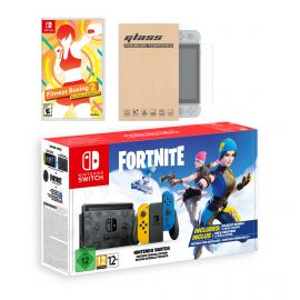 Nintendo Switch Fortnite Wildcat Edition and Game Bundle: Limited Console Set, Pre-Installed Fortnite, Epic Wildcat Outfits, 2000 V-Bucks, Fitness Boxing 2: Rhythm & Exercise, Mytrix Screen Protector