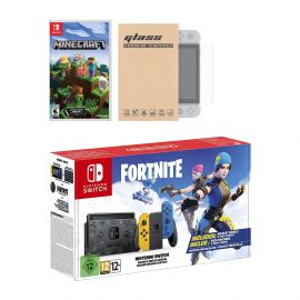 Nintendo Switch Fortnite Wildcat Edition and Game Bundle: Limited Console Set, Pre-Installed Fortnite, Epic Wildcat Outfits, 2000 V-Bucks, Minecraft, Mytrix Tempered Glass Screen Protector