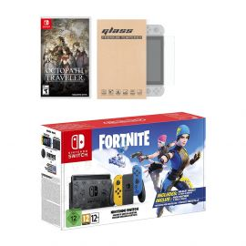 Nintendo Switch Fortnite Wildcat Edition and Game Bundle: Limited Console Set, Pre-Installed Fortnite, Epic Wildcat Outfits, 2000 V-Bucks, Octopath Traveler, Mytrix Tempered Glass Screen Protector