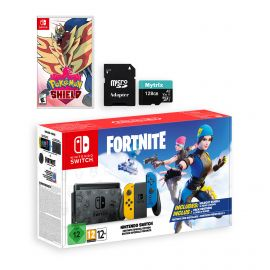 Nintendo Switch Fortnite Wildcat Edition and Game Bundle: Limited Console Set, Pre-Installed Fortnite, Epic Wildcat Outfits, 2000 V-Bucks, Pokemon Shield, Mytrix 128GB MicroSD Card and Adapter