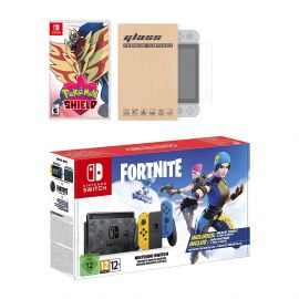 Nintendo Switch Fortnite Wildcat Edition and Game Bundle: Limited Console Set, Pre-Installed Fortnite, Epic Wildcat Outfits, 2000 V-Bucks, Pokemon Shield, Mytrix Tempered Glass Screen Protector