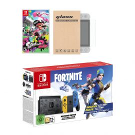Nintendo Switch Fortnite Wildcat Edition and Game Bundle: Limited Console Set, Pre-Installed Fortnite, Epic Wildcat Outfits, 2000 V-Bucks, Splatoon 2, Mytrix Tempered Glass Screen Protector