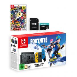 Nintendo Switch Fortnite Wildcat Edition and Game Bundle: Limited Console Set, Pre-Installed Fortnite, Epic Wildcat Outfits, 2000 V-Bucks, Super Bomberman R, Mytrix 128GB MicroSD Card and Adapter