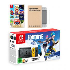 Nintendo Switch Fortnite Wildcat Edition and Game Bundle: Limited Console Set, Pre-Installed Fortnite, Epic Wildcat Outfits, 2000 V-Bucks, Super Mario 3D All-Stars, Mytrix Screen Protector