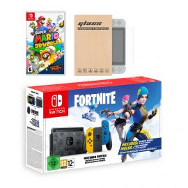 Nintendo Switch Fortnite Wildcat Edition and Game Bundle: Limited Console Set, Pre-Installed Fortnite, Epic Wildcat Outfits, 2000 V-Bucks, Super Mario 3D World + Bowser's Fury, Mytrix Screen Protector