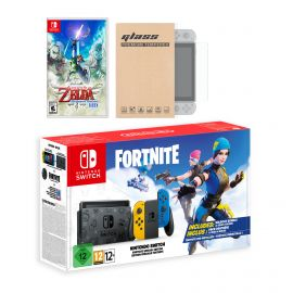 Nintendo Switch Fortnite Wildcat Edition and Game Bundle: Limited Console Set, Pre-Installed Fortnite, Epic Wildcat Outfits, 2000 V-Bucks, The Legend of Zelda: Skyward Sword HD, Mytrix Screen Protector