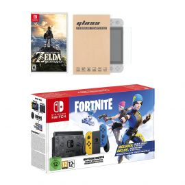 Nintendo Switch Fortnite Wildcat Edition and Game Bundle: Limited Console Set, Pre-Installed Fortnite, Epic Wildcat Outfits, 2000 V-Bucks, Zelda: Breath of the Wild, Mytrix Glass Screen Protector