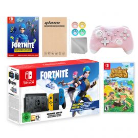 Nintendo Switch Fortnite Wildcat Limited Console Set, Epic Wildcat Outfits, 2000 V-Bucks, Bundle With Animal Crossing: New Horizons And Mytrix Wireless Switch Pro Controller and Accessories