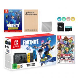 Nintendo Switch Fortnite Wildcat Limited Console Set, Epic Wildcat Outfits, 2000 V-Bucks, Bundle With Hyrule Warriors And Mytrix Accessories