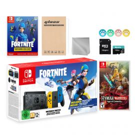 Nintendo Switch Fortnite Wildcat Limited Console Set, Epic Wildcat Outfits, 2000 V-Bucks, Bundle With Hyrule Warriors: Age of Calamity And Mytrix Accessories