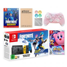 Nintendo Switch Fortnite Wildcat Limited Console Set, Epic Wildcat Outfits, 2000 V-Bucks, Bundle With Kirby Star Allies And Mytrix Wireless Switch Pro Controller and Accessories