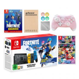 Nintendo Switch Fortnite Wildcat Limited Console Set, Epic Wildcat Outfits, 2000 V-Bucks, Bundle With Mario Kart 8 Deluxe And Mytrix Wireless Switch Pro Controller and Accessories
