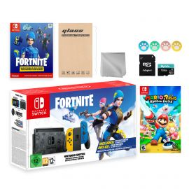 Nintendo Switch Fortnite Wildcat Limited Console Set, Epic Wildcat Outfits, 2000 V-Bucks, Bundle With Mario Rabbids Kingdom Battle And Mytrix Accessories