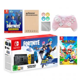 Nintendo Switch Fortnite Wildcat Limited Console Set, Epic Wildcat Outfits, 2000 V-Bucks, Bundle With Mario Rabbids Kingdom Battle And Mytrix Wireless Controller and Accessories